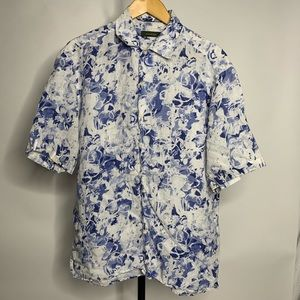 Ermemegildo Zegna Blue Floral Button Down Polo